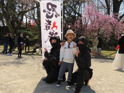 忍者隊と記念写真